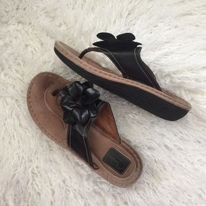 Clarks black leather flower wedge sandals